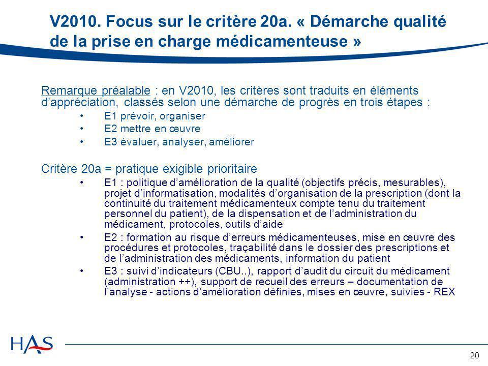 V2010. Focus sur le critère 20a. « Démarche qualité de la prise en charge médicamenteuse »