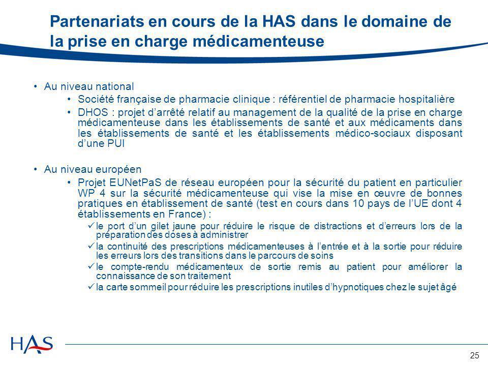 Partenariats en cours de la HAS dans le domaine de la prise en charge médicamenteuse