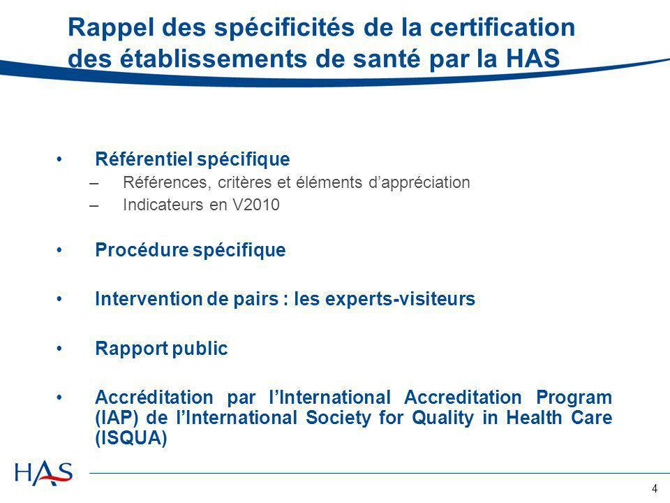 Rappel des spécificités de la certification des établissements de santé par la HAS