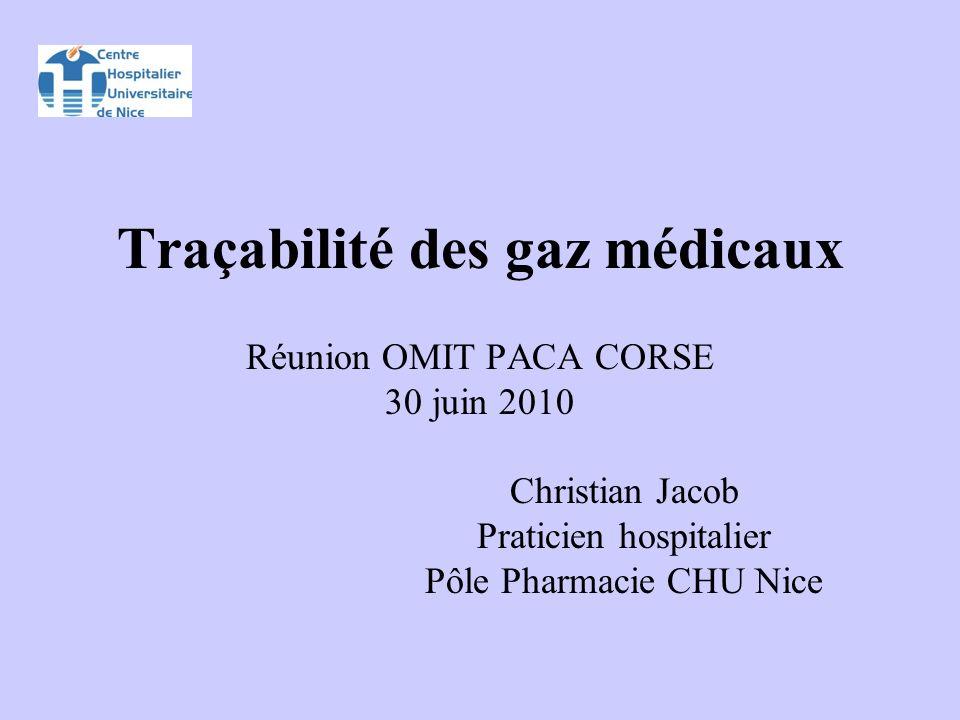 Traçabilité des gaz médicaux