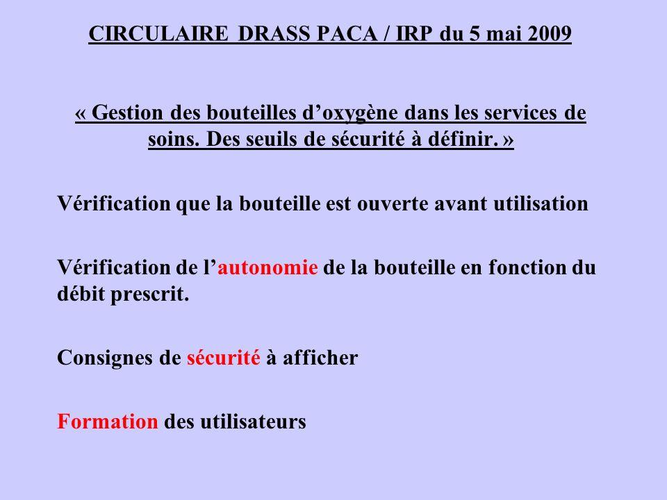 CIRCULAIRE DRASS PACA / IRP du 5 mai 2009