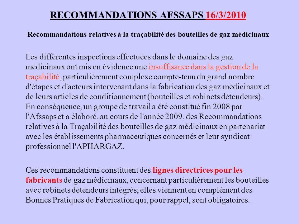 RECOMMANDATIONS AFSSAPS 16/3/2010