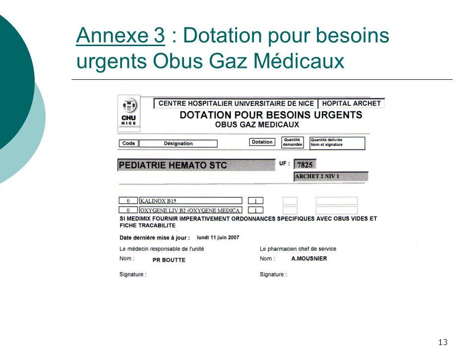 Annexe 3 : Dotation pour besoins urgents Obus Gaz Médicaux
