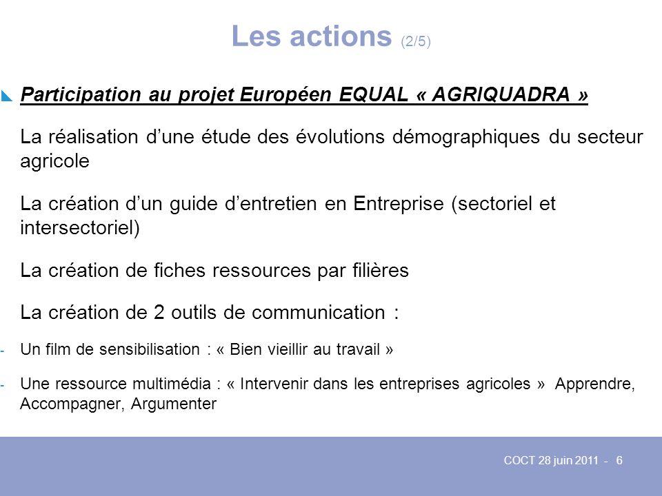 Les actions (2/5) Participation au projet Européen EQUAL « AGRIQUADRA »