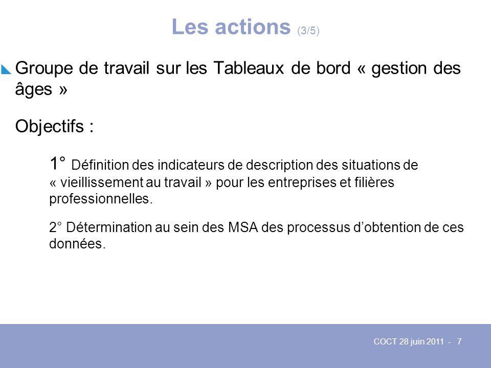 Les actions (3/5) Groupe de travail sur les Tableaux de bord « gestion des âges » Objectifs :