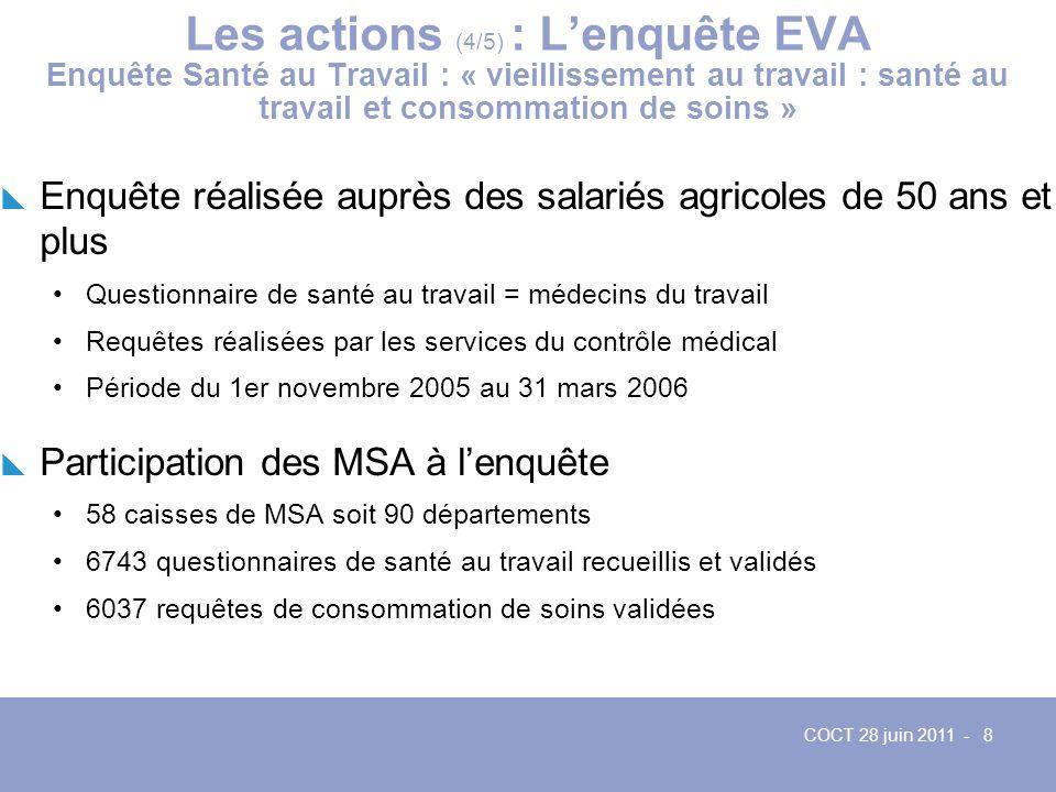 Les actions (4/5) : L'enquête EVA Enquête Santé au Travail : « vieillissement au travail : santé au travail et consommation de soins »