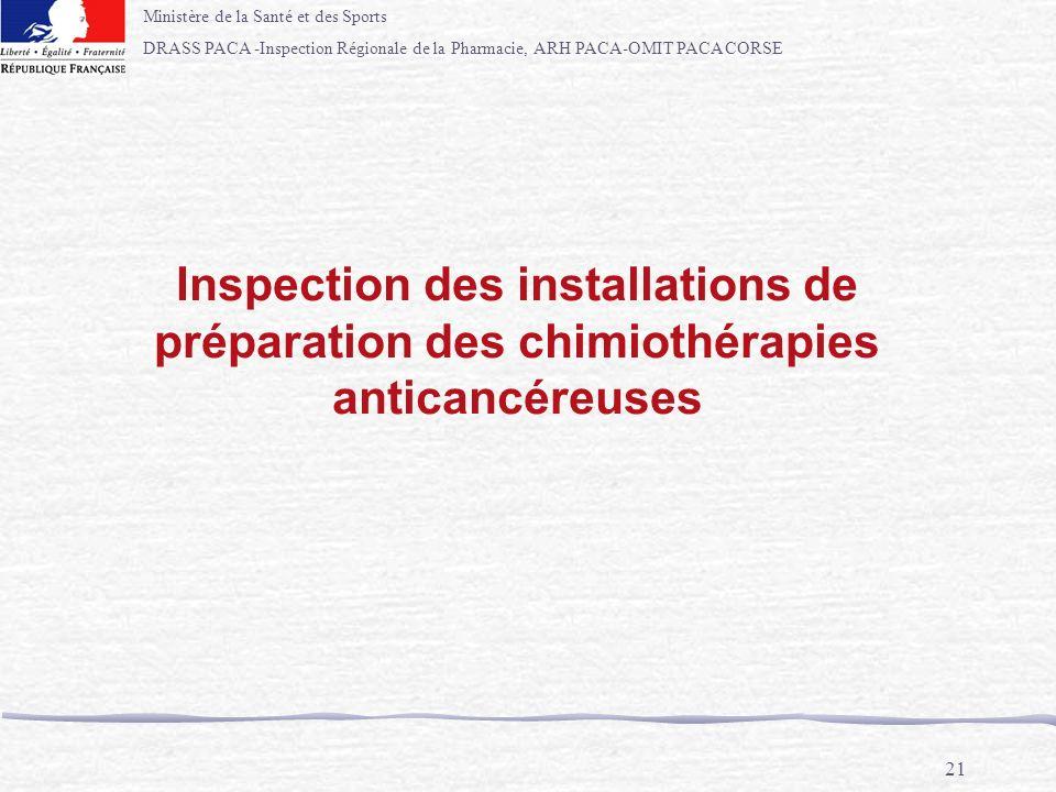 Inspection des installations de préparation des chimiothérapies anticancéreuses