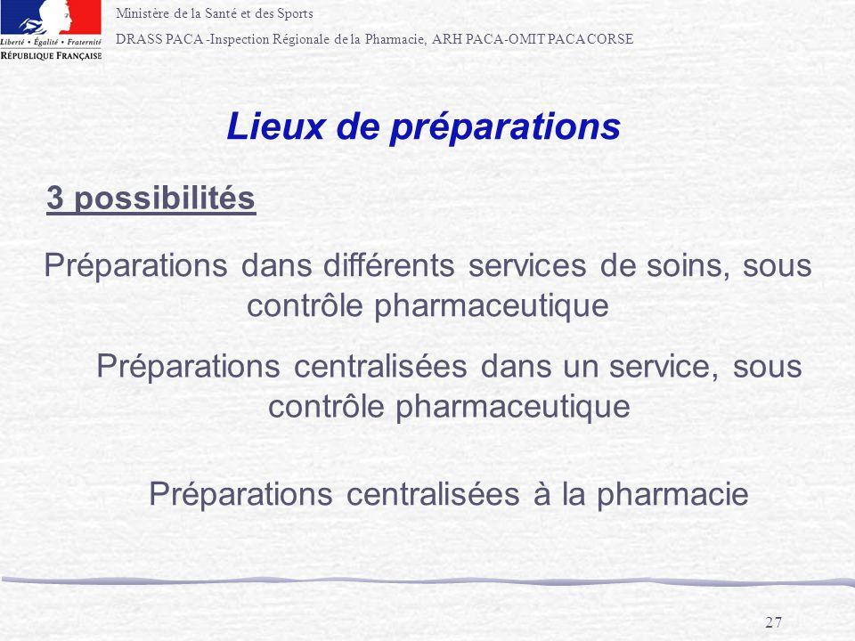 Préparations centralisées à la pharmacie