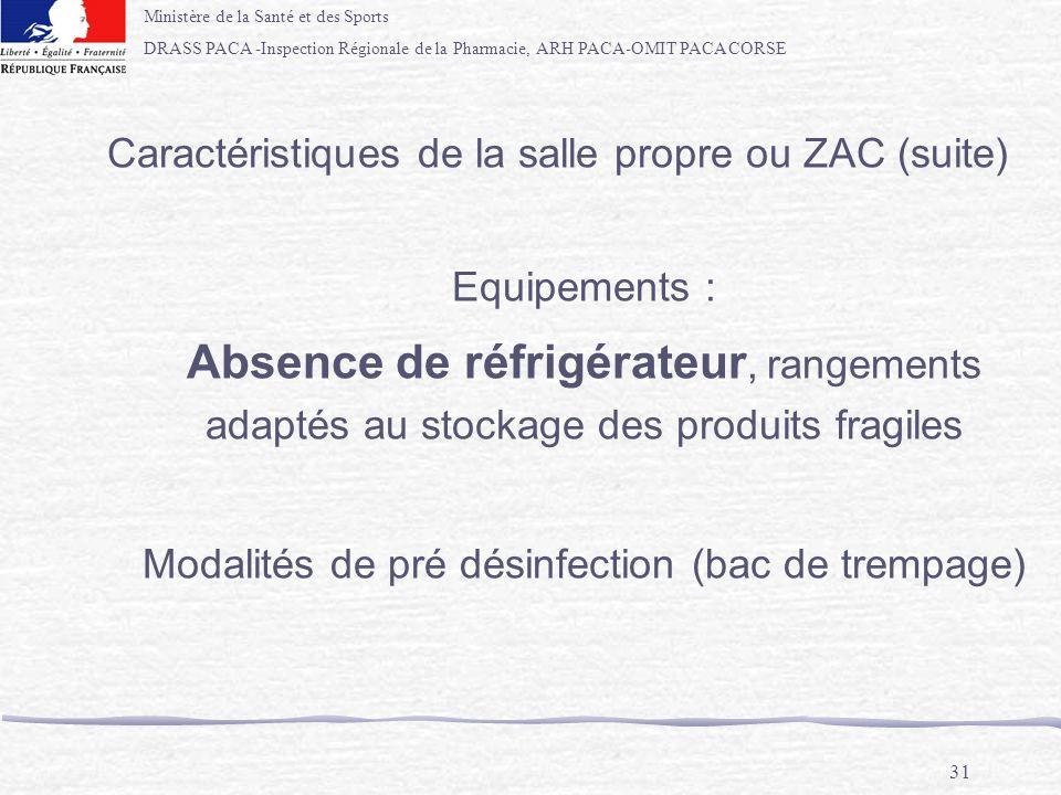 Caractéristiques de la salle propre ou ZAC (suite)