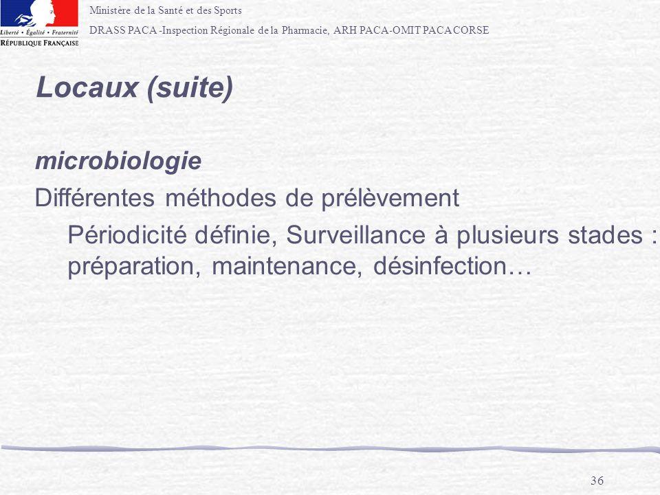 Locaux (suite) microbiologie Différentes méthodes de prélèvement