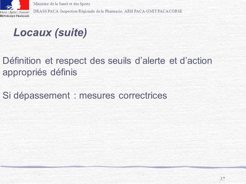 Locaux (suite) Définition et respect des seuils d'alerte et d'action appropriés définis.