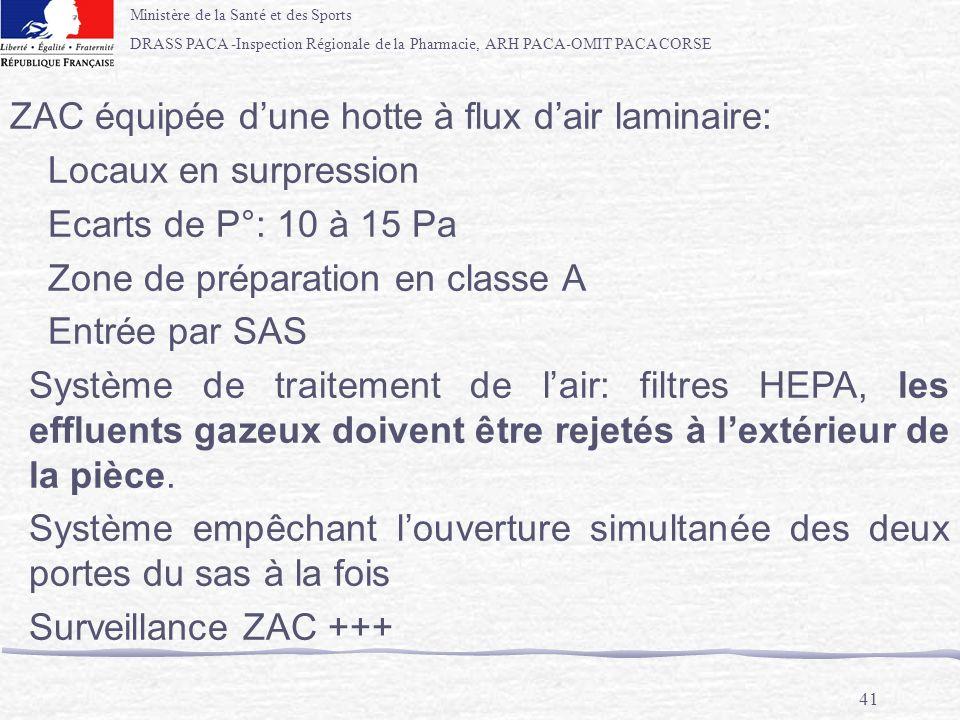 ZAC équipée d'une hotte à flux d'air laminaire: