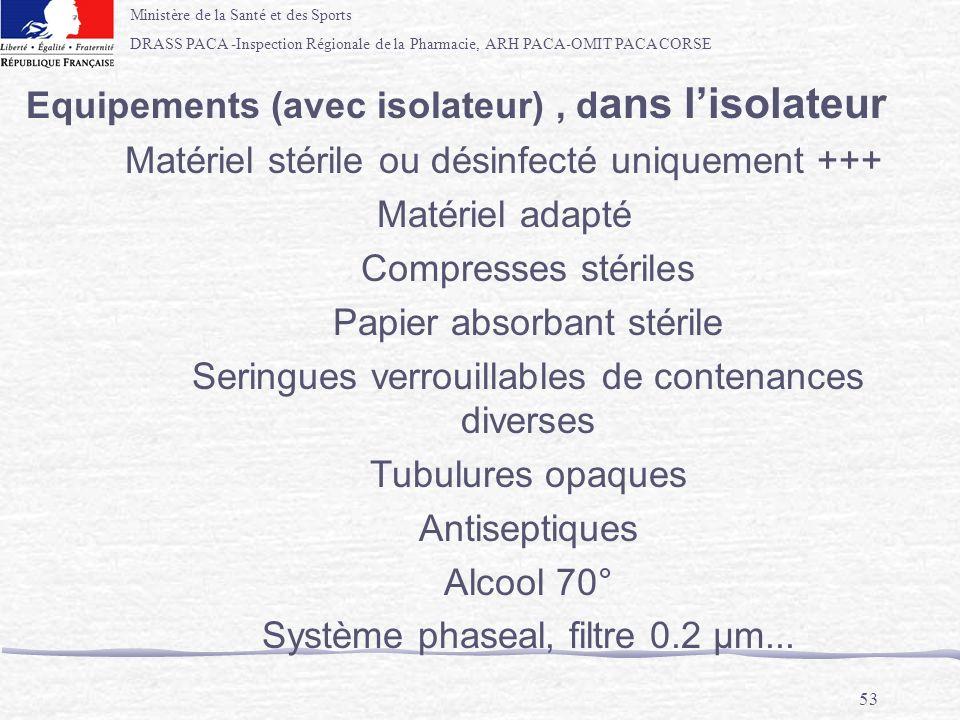 Equipements (avec isolateur) , dans l'isolateur