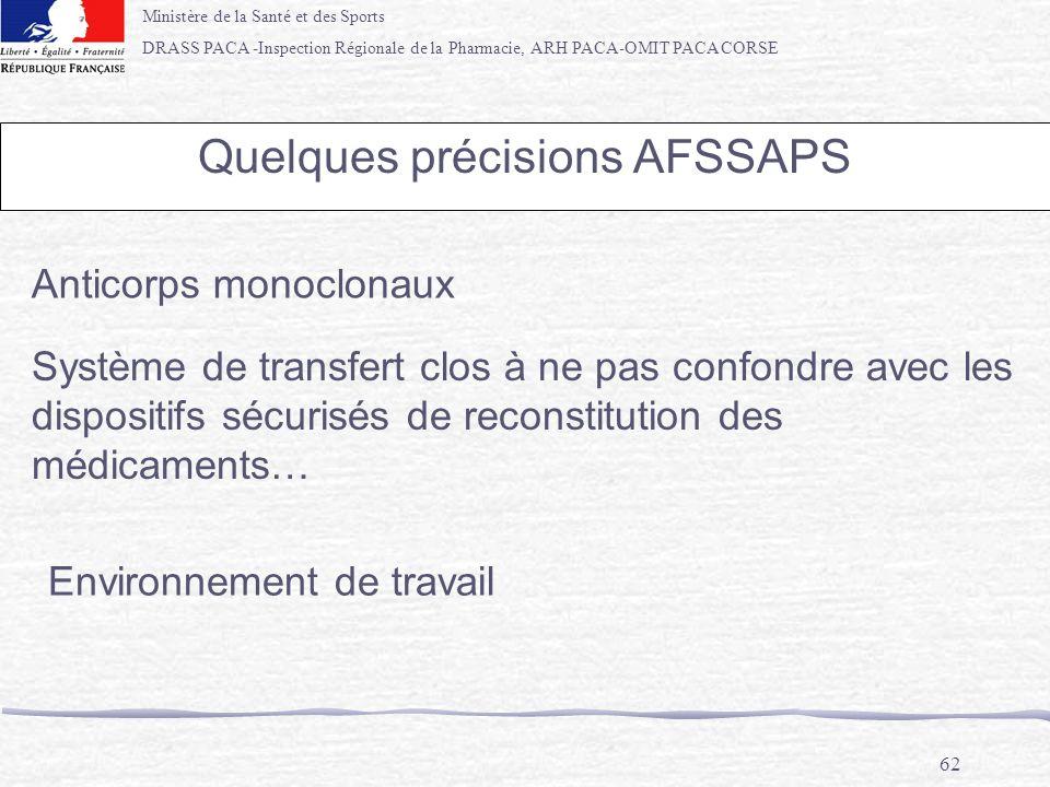Quelques précisions AFSSAPS