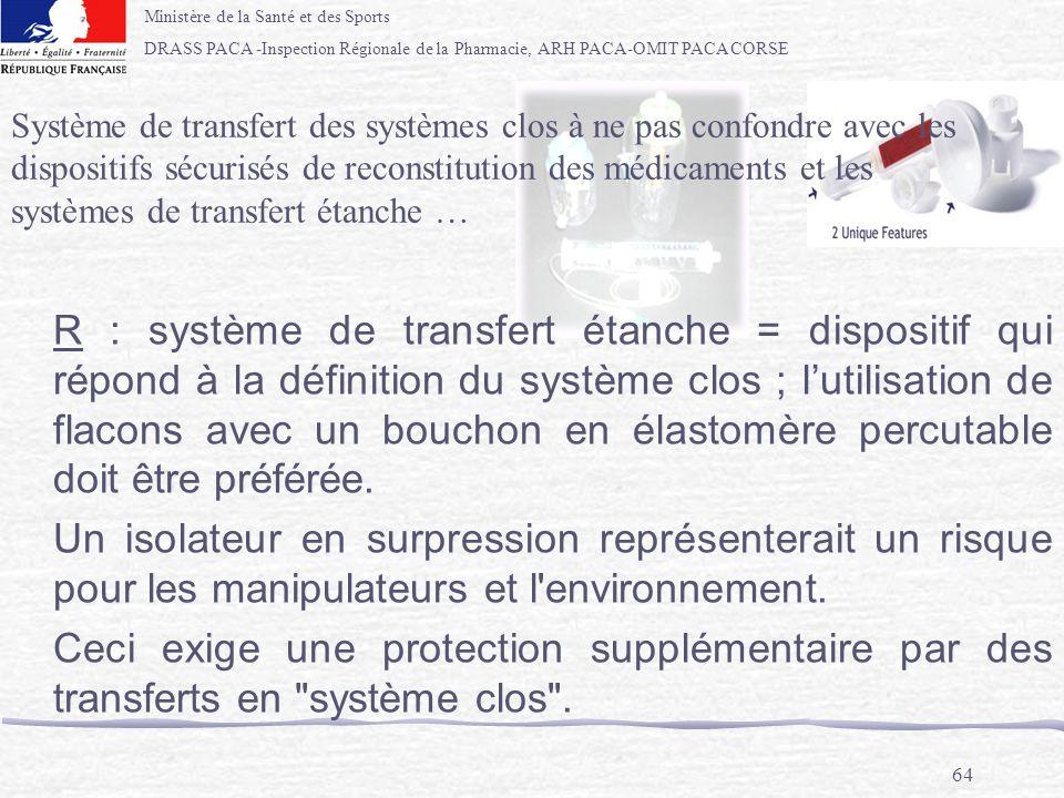 Système de transfert des systèmes clos à ne pas confondre avec les dispositifs sécurisés de reconstitution des médicaments et les systèmes de transfert étanche …