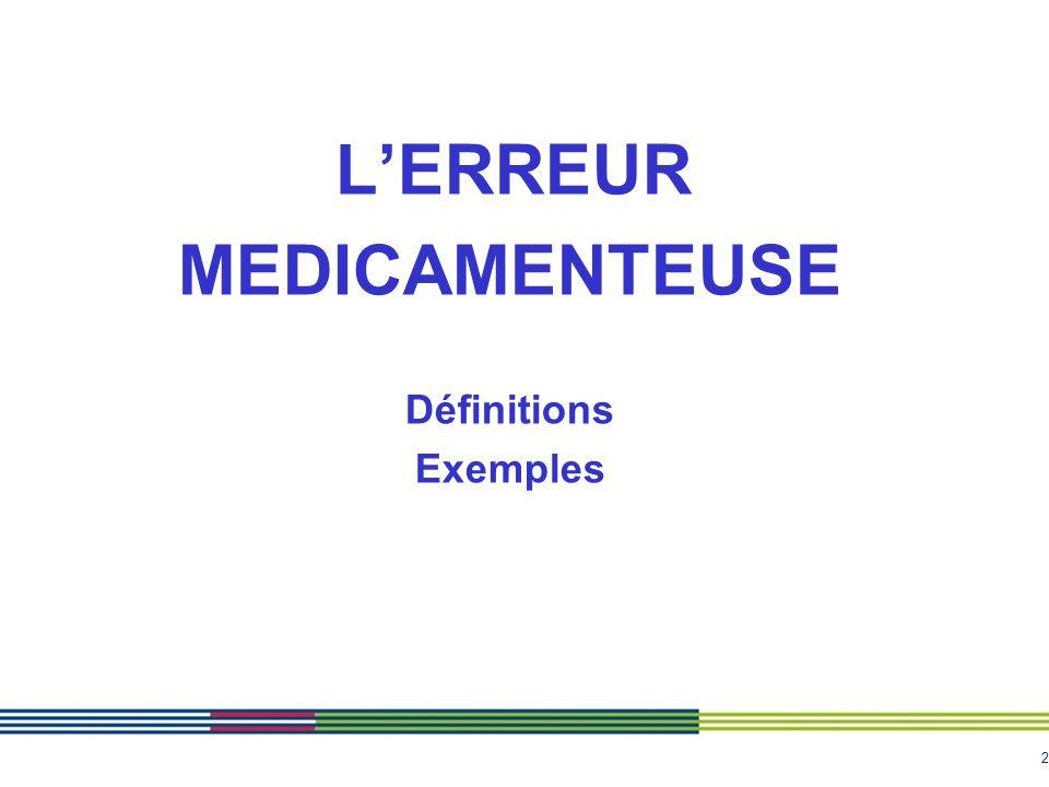 L'ERREUR MEDICAMENTEUSE Définitions Exemples