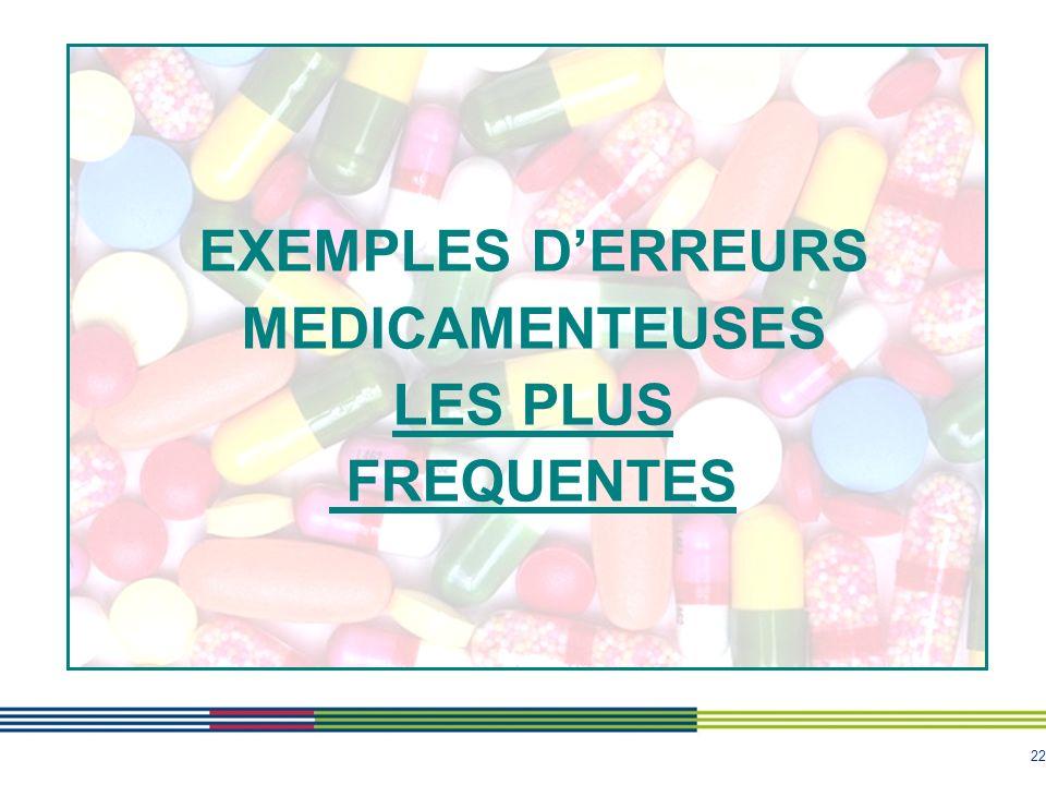 EXEMPLES D'ERREURS MEDICAMENTEUSES LES PLUS FREQUENTES