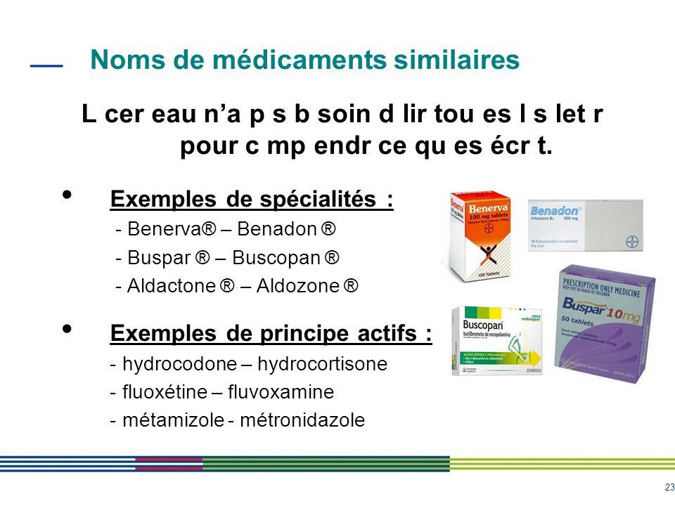 Noms de médicaments similaires