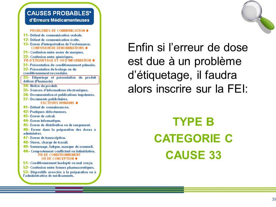 Enfin si l'erreur de dose est due à un problème d'étiquetage, il faudra alors inscrire sur la FEI:
