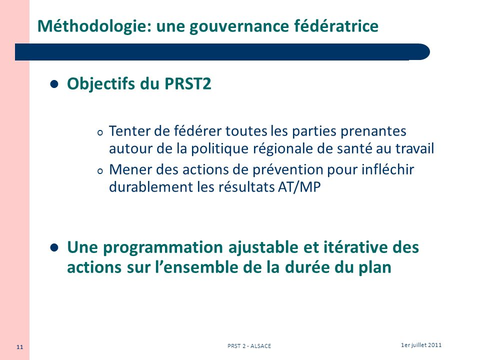 Méthodologie: une gouvernance fédératrice