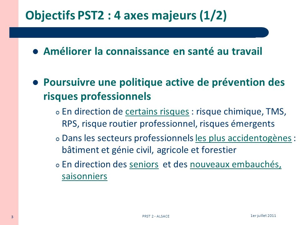 Objectifs PST2 : 4 axes majeurs (1/2)