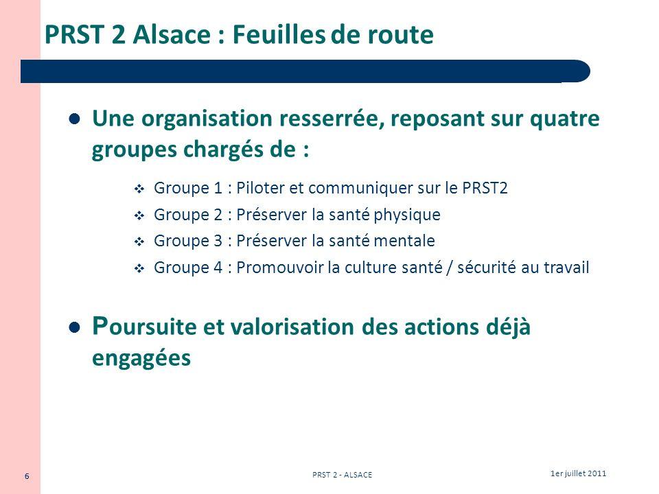 PRST 2 Alsace : Feuilles de route