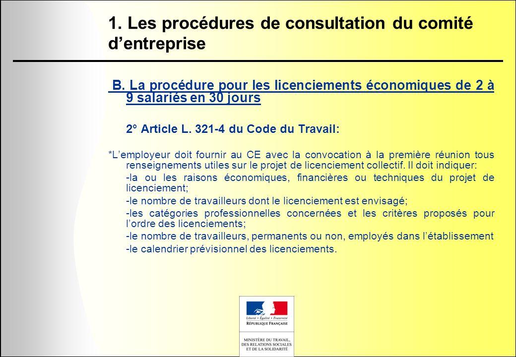 1. Les procédures de consultation du comité d'entreprise
