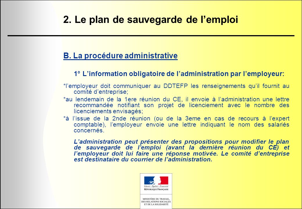 2. Le plan de sauvegarde de l'emploi