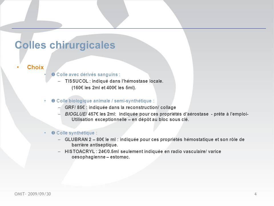 Colles chirurgicales Choix  Colle avec dérivés sanguins :