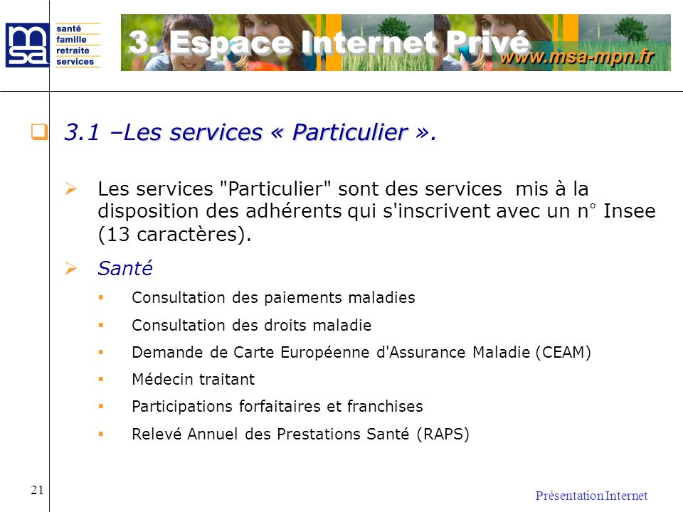 3. Espace Internet Privé 3.1 –Les services « Particulier ».