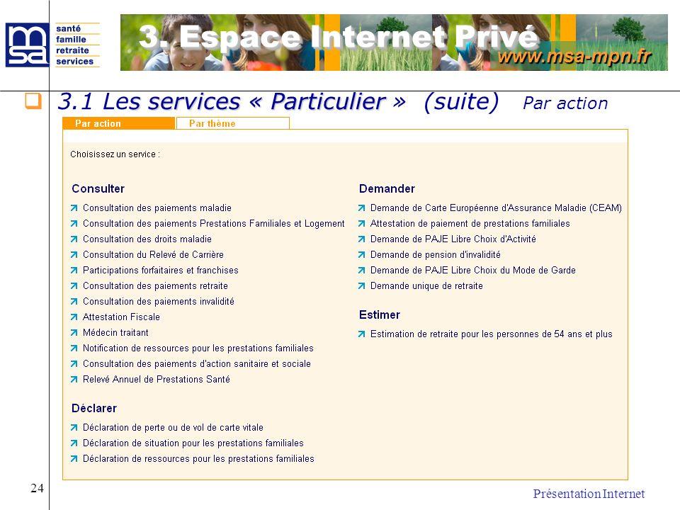 3. Espace Internet Privé 3.1 Les services « Particulier » (suite) Par action.