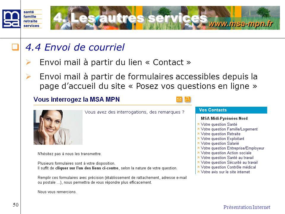 4. Les autres services 4.4 Envoi de courriel
