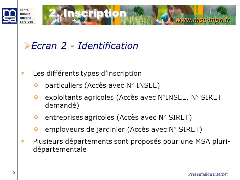 2. Inscription Ecran 2 - Identification