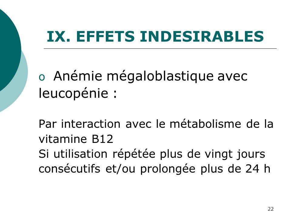EFFETS INDESIRABLES leucopénie : Anémie mégaloblastique avec