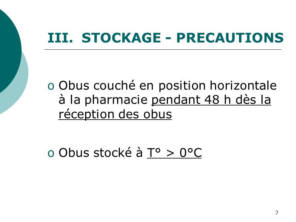 STOCKAGE - PRECAUTIONS