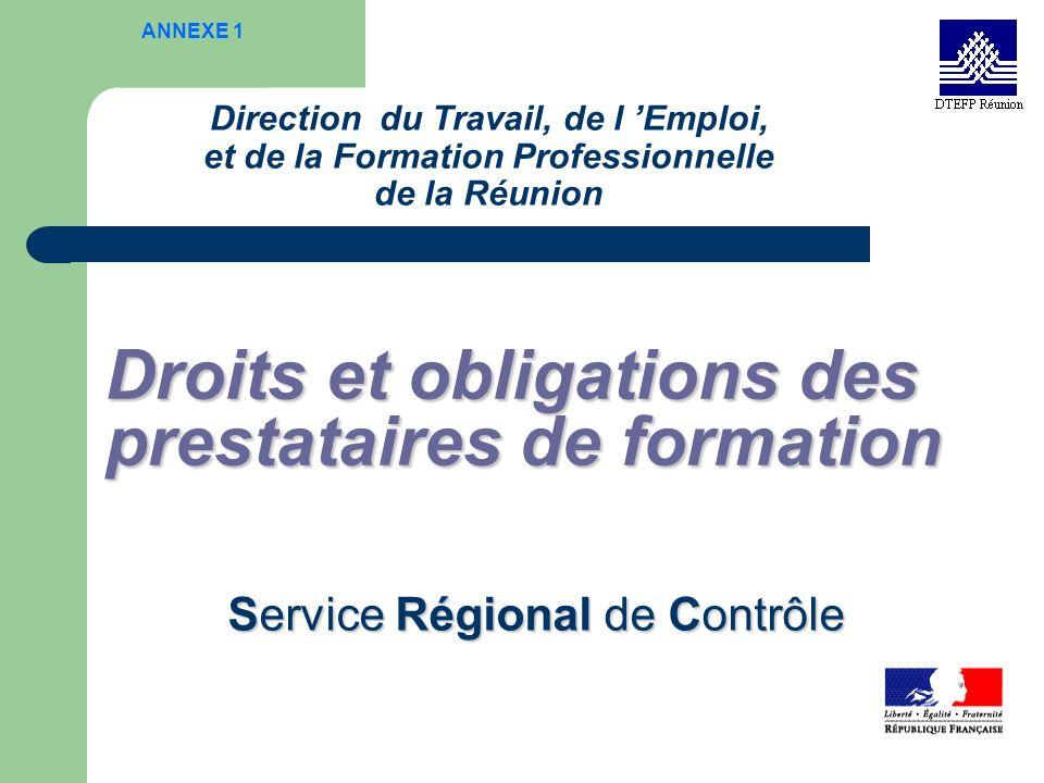 Droits et obligations des prestataires de formation
