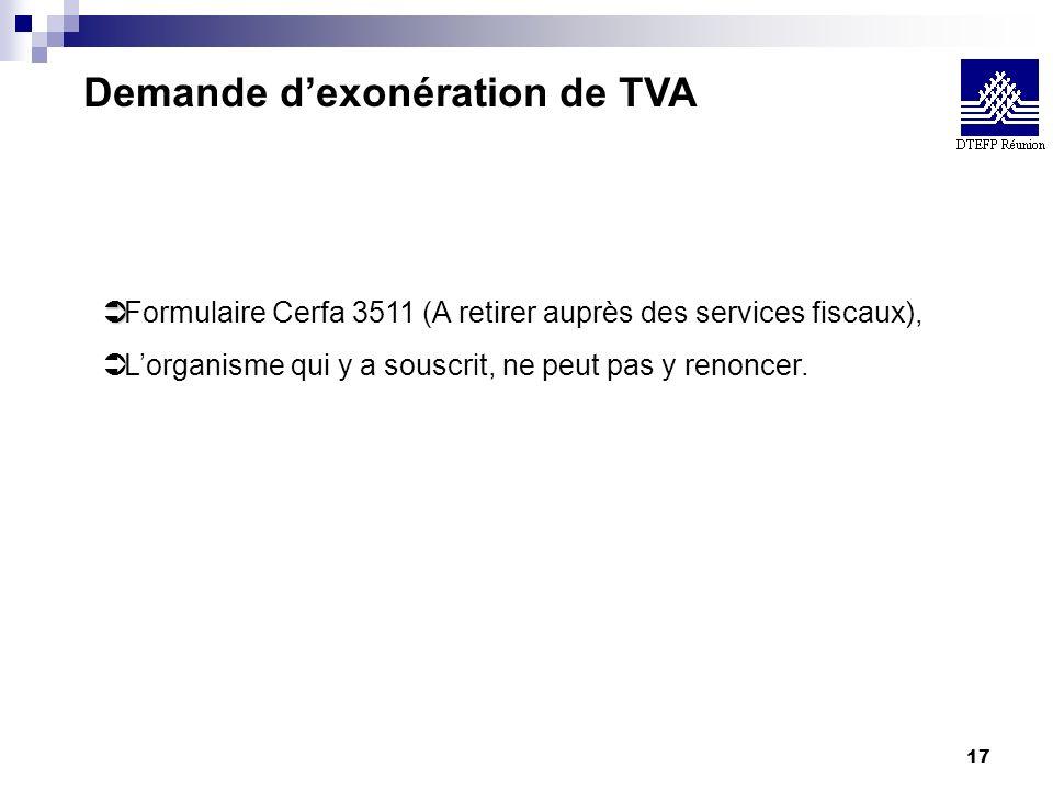 Demande d'exonération de TVA