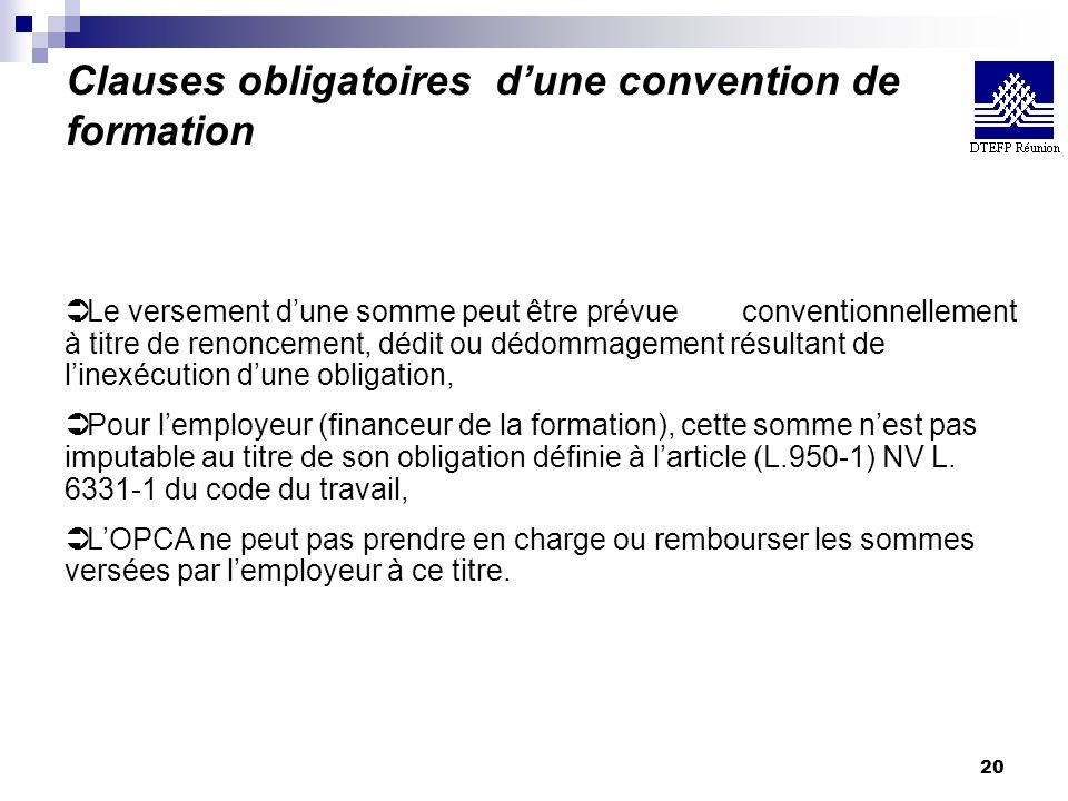 Clauses obligatoires d'une convention de formation