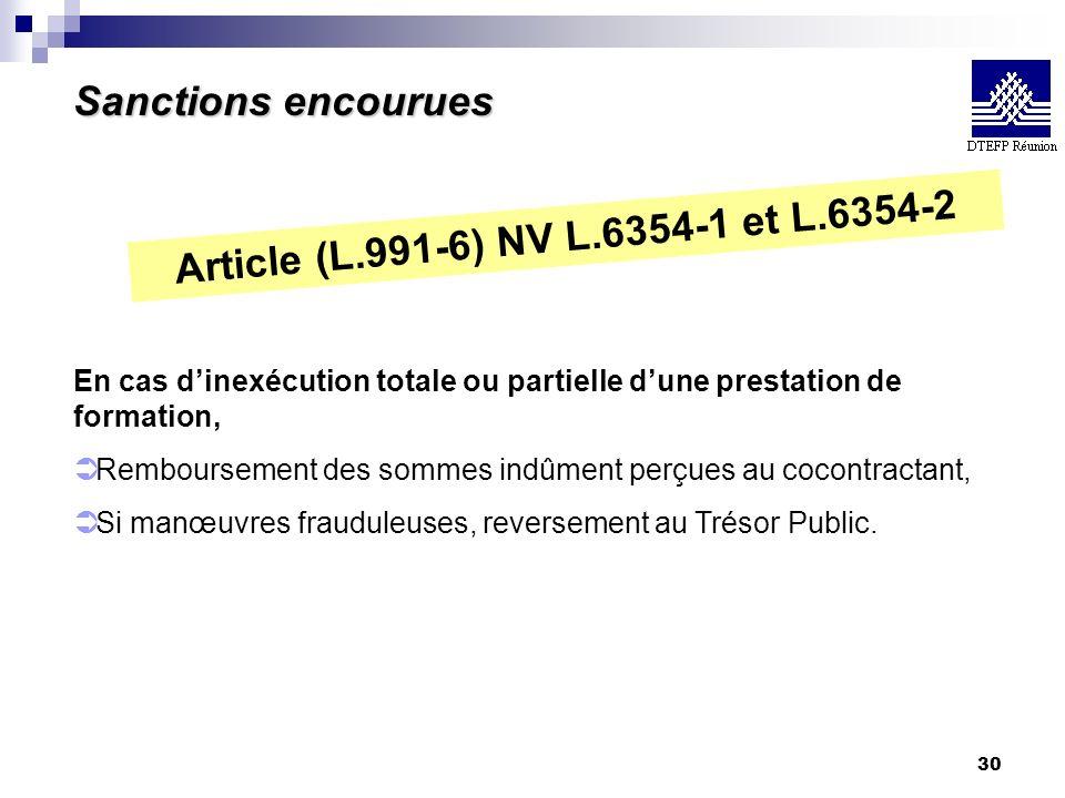 Sanctions encourues Article (L.991-6) NV L.6354-1 et L.6354-2