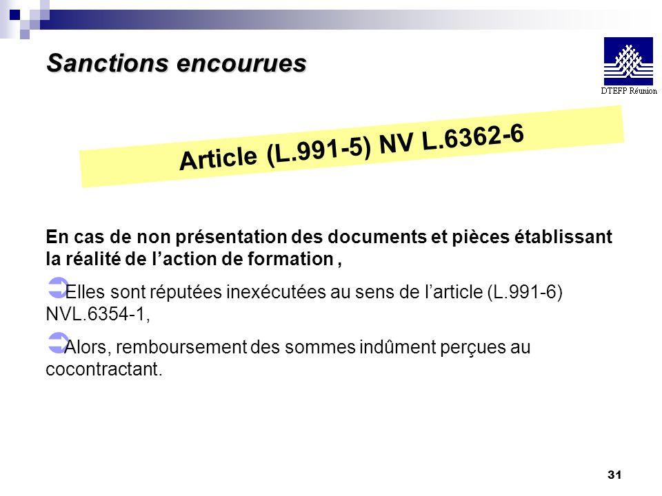 Sanctions encourues Article (L.991-5) NV L.6362-6