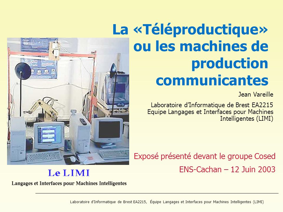 La «Téléproductique» ou les machines de production communicantes