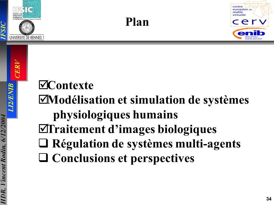Plan Contexte. Modélisation et simulation de systèmes. physiologiques humains. Traitement d'images biologiques.