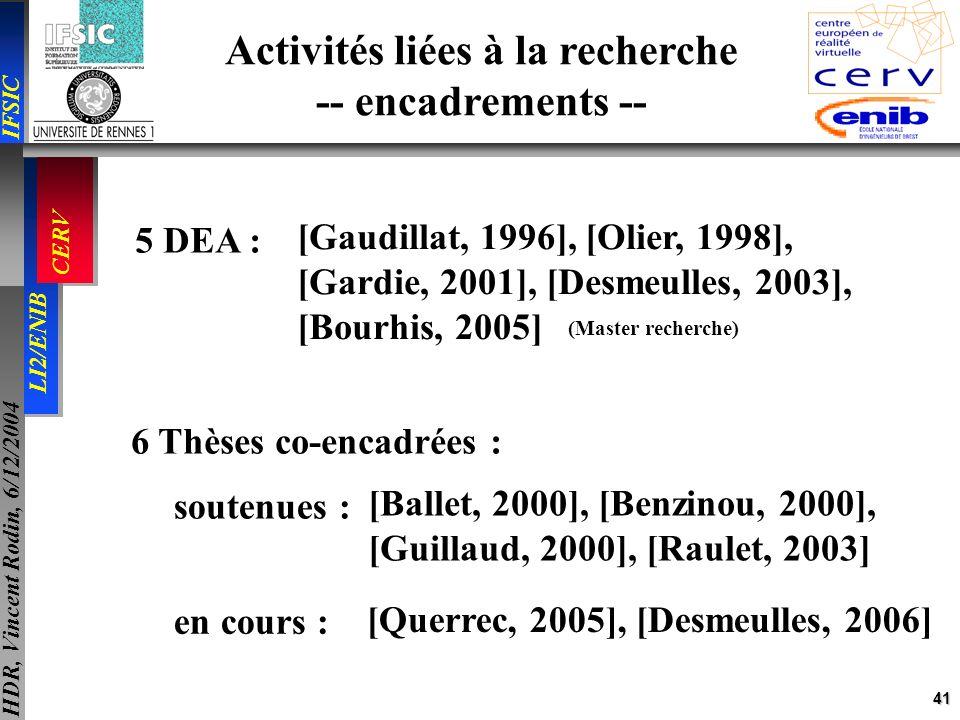 Activités liées à la recherche -- encadrements --