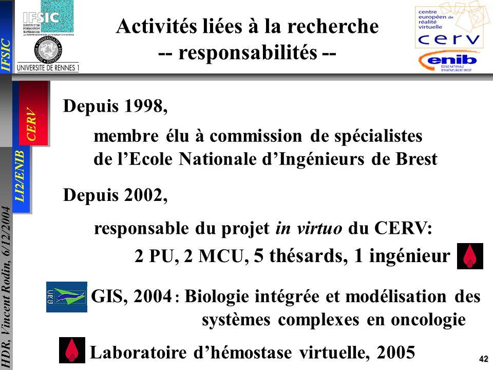 Activités liées à la recherche -- responsabilités --
