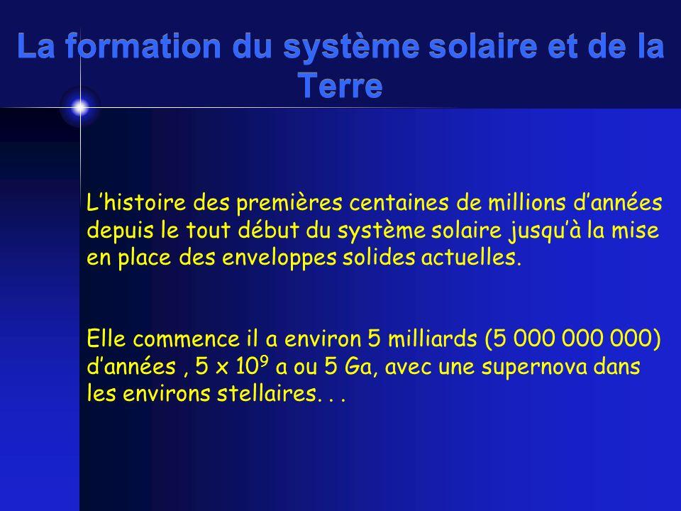 La formation du système solaire et de la Terre