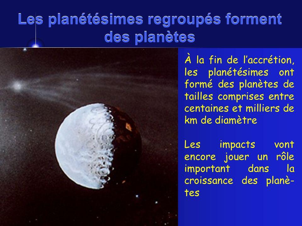 Les planétésimes regroupés forment des planètes