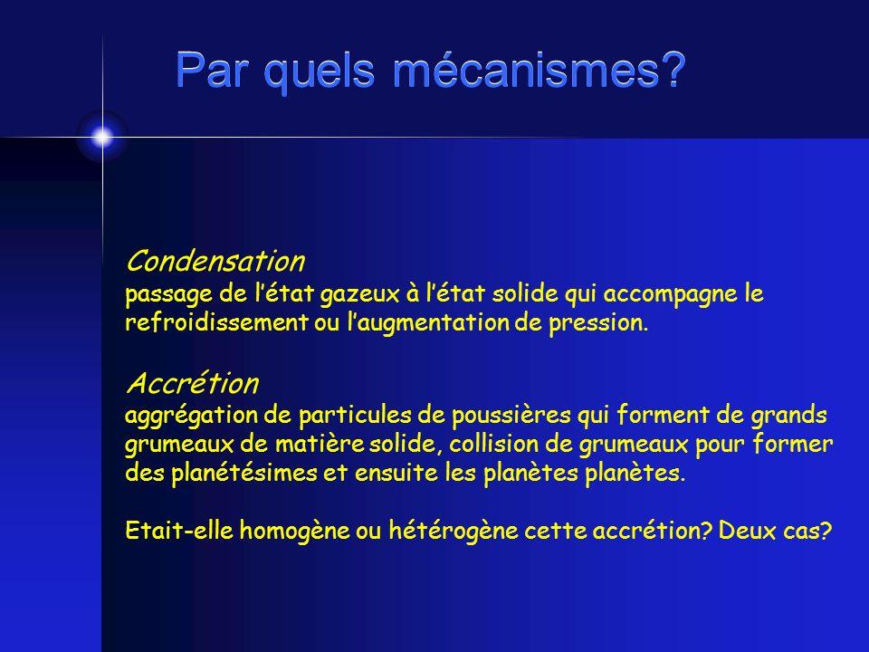 Par quels mécanismes Condensation Accrétion