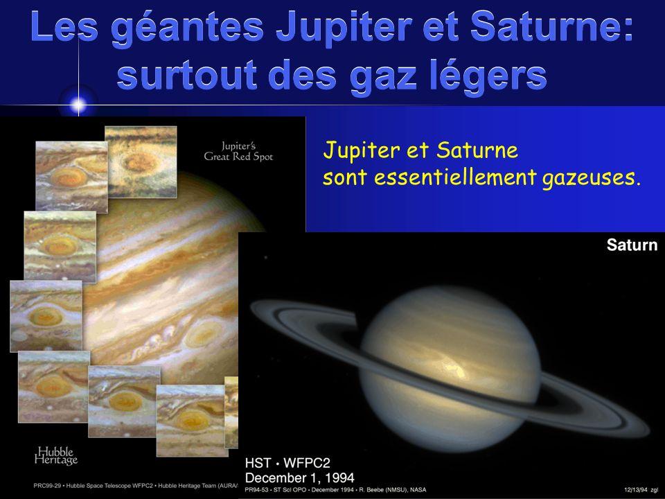 Les géantes Jupiter et Saturne: surtout des gaz légers