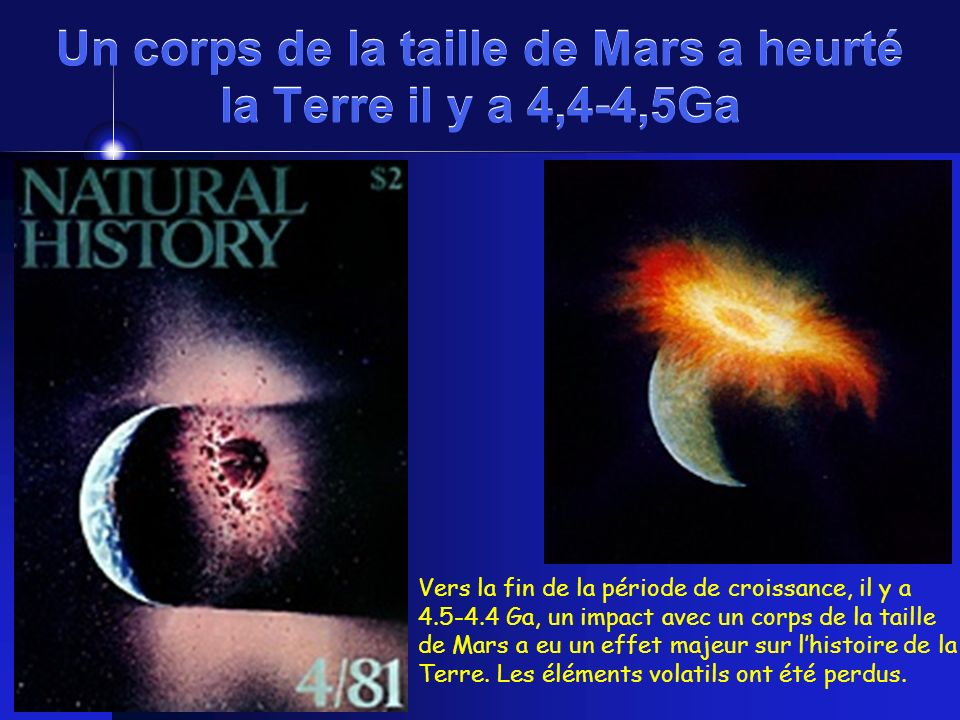 Un corps de la taille de Mars a heurté la Terre il y a 4,4-4,5Ga