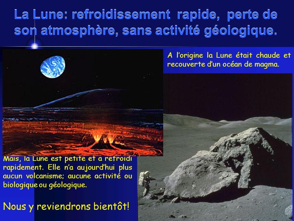 La Lune: refroidissement rapide, perte de son atmosphère, sans activité géologique.